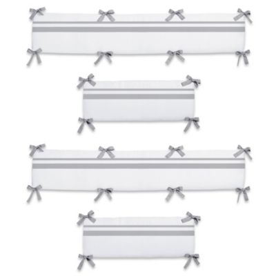 Sweet Jojo Designs Hotel Collection Crib Bumper in White/Grey