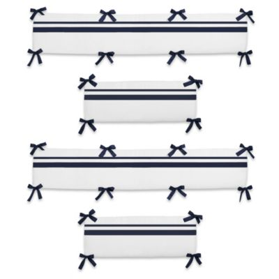 Sweet Jojo Designs Hotel Crib Bumper in White/Navy