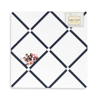 Sweet Jojo Designs Hotel Fabric Memo Board in White/Navy