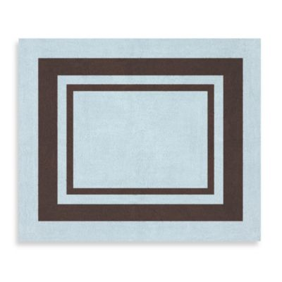 Sweet Jojo Designs Hotel Accent Floor Rug in Sky Blue/Chocolate Brown