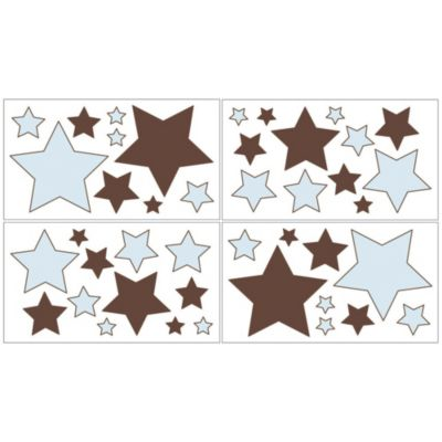 Sweet Jojo Designs Hotel Wall Decals in Sky Blue/Chocolate Brown (Set of 4)
