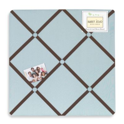 Sweet Jojo Designs Hotel Fabric Memo Board in Sky Blue/Chocolate Brown