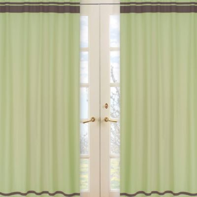 Sweet Jojo Designs Hotel Window Panels in Green/Chocolate Brown (Set of 2)
