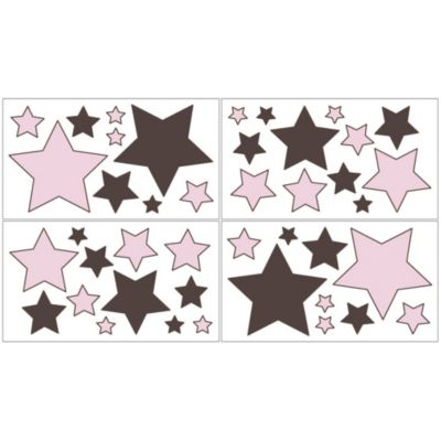 Sweet Jojo Designs Hotel Wall Decals in Pink/Chocolate Brown (Set of 4)