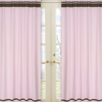 Sweet Jojo Designs Hotel Window Panels in Pink/Chocolate Brown (Set of 2)