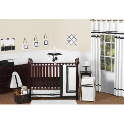 Sweet Jojo Designs Hotel 11-Piece Crib Bedding Set in White/Black