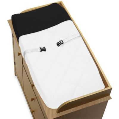 Sweet Jojo Designs Hotel Changing Pad Cover in White/Black