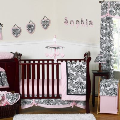 Pink and Black Girl Baby Bedding