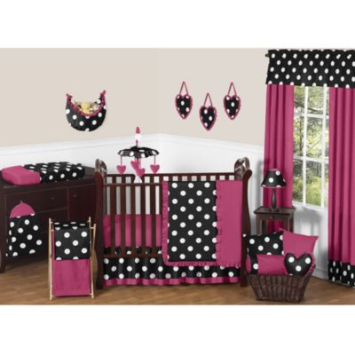 Black Pink and White Polka Dot Bedding