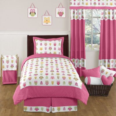 Sweet Jojo Designs Happy Owl Twin 4-Piece Bedding Set in Pink