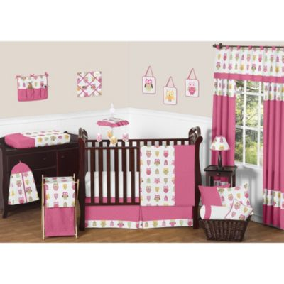 Sweet Jojo Designs Happy Owl Collection 11-Piece Crib Bedding Set in Pink