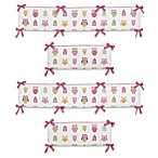 Sweet Jojo Designs Happy Owl Collection Crib Bumper in Pink
