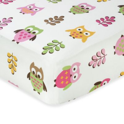 Sweet Jojo Designs Happy Owl Crib Bedding Collection in Pink > Sweet Jojo Designs Happy Owl Collection Crib Sheet in Owl Print