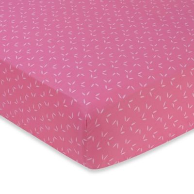 Sweet Jojo Designs Happy Owl Collection Leaf Print Crib Sheet in Pink