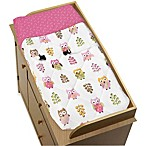 Sweet Jojo Designs Happy Owl Collection Changing Pad Cover in Pink