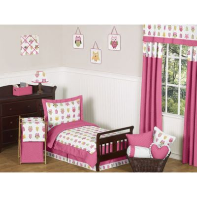 Sweet Jojo Designs Happy Owl Toddler 5-Piece Bedding Set in Pink
