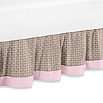 Sweet Jojo Designs Elephant Queen Bed Skirt in Pink and Taupe Mod