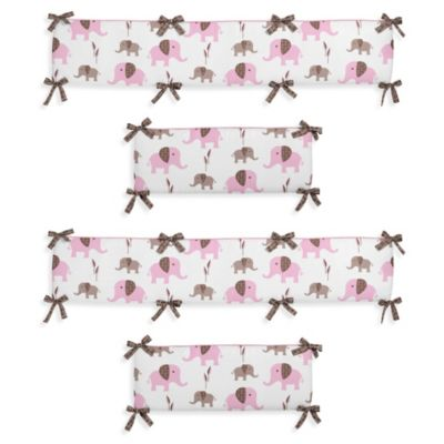 Baby Bedding Accessories > Sweet Jojo Designs Mod Elephant 4-Piece Crib Bumper Set in Pink/Taupe