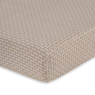 Sweet Jojo Designs Mod Elephant Geometric Fitted Crib Sheet in Taupe