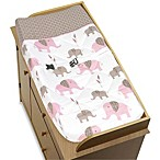 Sweet Jojo Designs Mod Elephant Changing Pad Cover in PinkTaupe