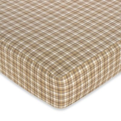 Sweet Jojo Designs Teddy Bear Chocolate Fitted Crib Sheet in Plaid