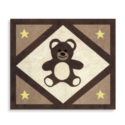Sweet Jojo Designs Teddy Bear 2-Foot 6-Inch x 3-Foot Floor Rug in Chocolate