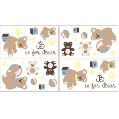 Sweet Jojo Designs Teddy Bear Wall Decals in Chocolate (Set of 4)