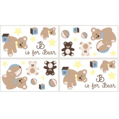 Teddy Bear Wall Decals in Chocolate