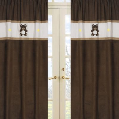 Teddy Bear Window Panel Pair in Chocolate