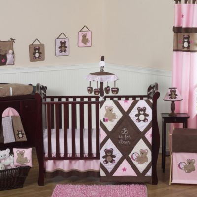 Sweet Jojo Designs Pink and Chocolate Teddy Bear 11-Piece Crib Bedding Set