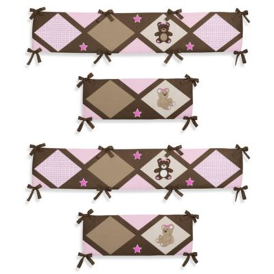 Sweet Jojo Designs Teddy Bear 4-Piece Crib Bumper in Pink/Chocolate
