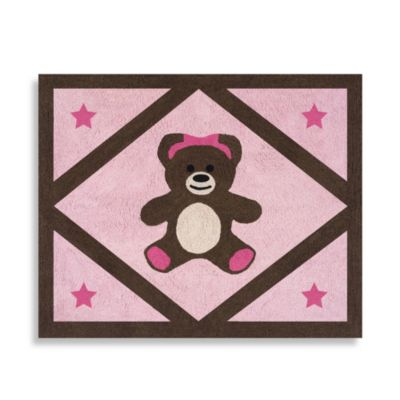 Sweet Jojo Designs Teddy Bear 36-Inch x 30-Inch Accent Rug in Pink/Chocolate