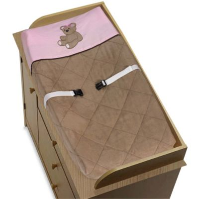 Sweet Jojo Designs Teddy Bear Changing Pad Cover in Pink/Chocolate