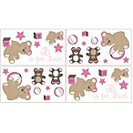 Sweet Jojo Designs Teddy Bear Wall Decals in Pink/Chocolate