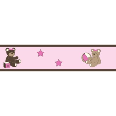 Sweet Jojo Designs Teddy Bear Wall Paper Border in Pink/Chocolate
