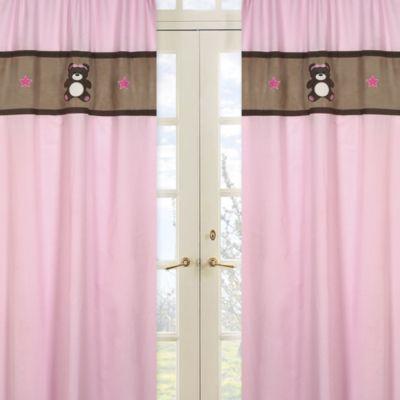 Sweet Jojo Designs Teddy Bear Window Panel Pair in Pink/Chocolate