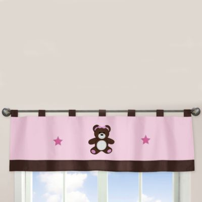 Sweet Jojo Designs Pink and Chocolate Teddy Bear Window Valance