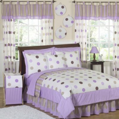 Sweet Jojo Designs Mod Dots 4-Piece Twin Comforter Set in Purple/Chocolate