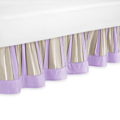 Sweet Jojo Designs Mod Dots Queen Bed Skirt in Purple/Chocolate