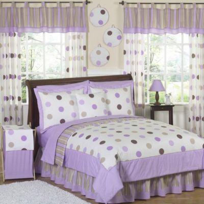 Sweet Jojo Designs Mod Dots 3-Piece Full/Queen Comforter Set in Purple/Chocolate