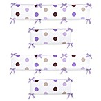 Sweet Jojo Designs Mod Dots Collection Crib Bumper in Purple/Chocolate