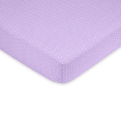 Sweet Jojo Designs Mod Dots Collection Crib Sheet in Mini Polka Dots in Light Purple