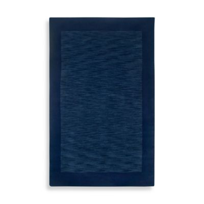 Rizzy Home Bordered Platoon Area Rug in Indigo Blue