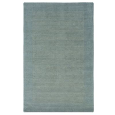Rizzy Home Bordered Platoon Area Rug in Light Blue