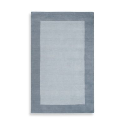 Rizzy Home Bordered Platoon Area Rug in Light Blue/Dark Blue