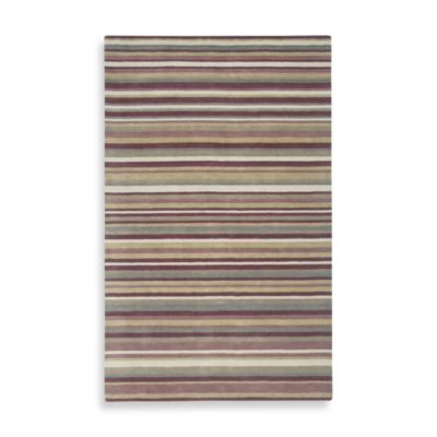 Rizzy Home Platoon Collection 2-Foot x 3-Foot Plum Stripe Rug