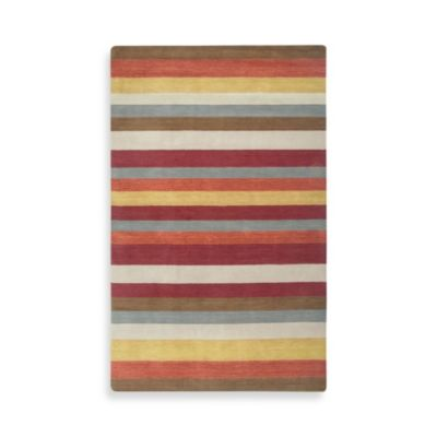 Rizzy Home Platoon Collection 5-Foot x 8-Foot Striped Red Rug