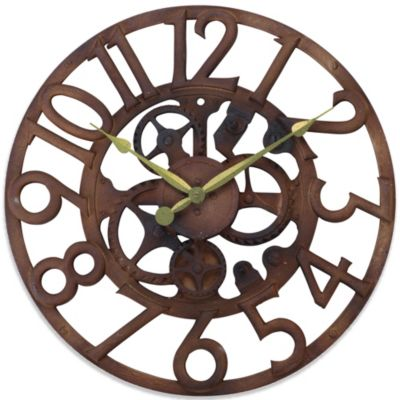 Sterling & Noble 19-Inch Rustic Gear Grill Wall Clock