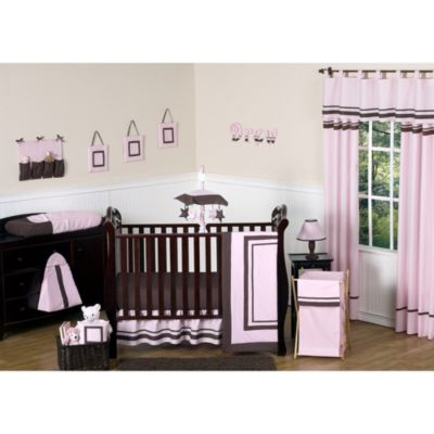 Sweet Jojo Designs Hotel 11-Piece Crib Bedding Set in Pink/Chocolate Brown