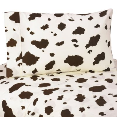 Sweet Jojo Designs Cowgirl Cow Print Twin Sheet Set